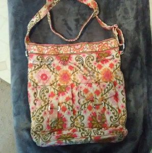 Vera Bradley pink and orange floral cinch bag.